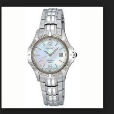 $270 w/ MAKE OFFER  HP diamond watch Seiko SXDE19 ladies Coutura Quartz watch. Stainless steel case & bracelet. Beautiful white Mother of pearl face. 16 diamond bezel. Sapphire crystal. Date at the 3 position. Hour, minute & second hand. Water resistant to 100M (300 feet). Sapphire crystal resists scratching. Cabochon (polished gemstone) crown.  Push button release clasp.  Retail value $450 NEW WITH TAGS seiko Jewelry