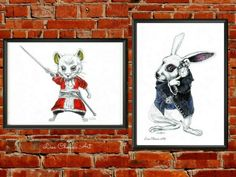 White Rabbit and Dormouse Prints,Alice in Wonderland art,character art,movie art #Cartoon