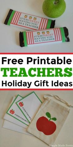 Here are the perfect teacher gifts (approved by a teacher) with free printables!  Holiday gifts, teacher gift ideas, holiday teacher gifts