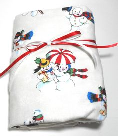 Christmas Flannel Fitted Sheet Snowman Baby Crib or by KidsSheets, $24.00