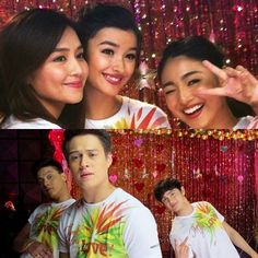 """Here are Kathryn Bernardo, Liza Soberano, Nadine Lustre, Daniel Padilla, Enrique Gil, and James Reid posing for the camera and smiling wackily during the recording of the 2015 ABS-CBN Christmas Station ID, """"Thank You for the Love!"""" They had fun recording the Christmas station ID, and indeed, had a good time! Ha! Ha! Ha! LOL! :-) #KathNiel #LizQuen #JaDine #ABSCBNChristmasStationID #ThankYoufortheLove"""