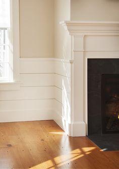 Paint colors, wainscot detail + wood floor