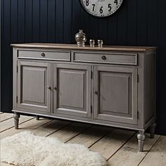 This stunning Maison Sideboard features two drawers and three cupboards for all your dining or living room storage needs. With a sophisticated distressed finish giving the feel of a much loved family antique, a timeless piece fit for any home. French Sideboard, Painted Sideboard, Large Sideboard, Painted Furniture, Sideboard Ideas, Rustic Sideboard, Sideboard Cabinet, Painted Wood, Shabby Chic Furniture