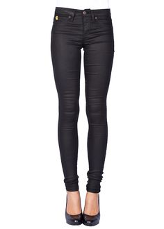 SECOND YOGA JEANS Mid Rise Skinny Leatherette Jeans