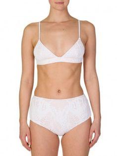 Mara Hoffman White Triangle Bikini Top