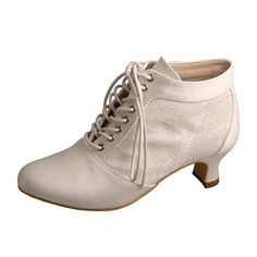 4a2e17333748 Wedopus Women s Round Toe Lace-up Boots Block Mid Heel Lace Satin Wedding  Bridal Pumps Shoes Size 5 Ivory