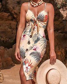 Backless Maxi Dresses, Maxi Dress With Slit, Floral Print Maxi Dress, Floral Dresses, Front Knot Dress, Button Front Dress, Spaghetti, Estilo Fashion, Pattern Fashion