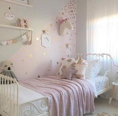 Gold polka dot decals spot decal home decor by rockymountaindecals girls pink bedroom ideas, pink Polka Dot Walls, Polka Dot Room, Unicorn Bedroom, Unicorn Rooms, Unicorn Head, Little Girl Rooms, My New Room, Room Inspiration, Furniture Inspiration