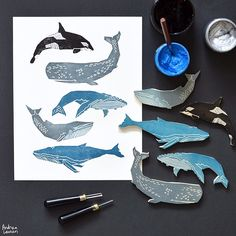 Andrea Lauren (@inkprintrepeat) | Carving and printing some sea life this morning! Looking forward to working with these on new prints and patterns! | Intagme - The Best Instagram Widget