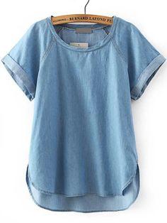 Синяя+джинсовая+блуза+с+асимметричным+низом++1561
