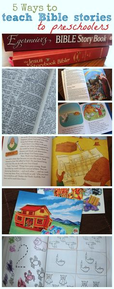 5 ways to teach Bible stories to preschoolers - variety of methods allows you to return to the same story over and over with fresh eyes! Preschoolers will love the different takes on learning the stories too!
