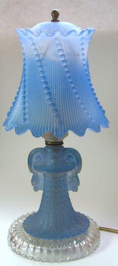 Blue glass vintage vanity lamp <3 Love it!