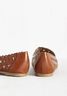 Parlor Performance Flat. As you enter the drawing room in these leather flats by Restricted, youre presented with a generous selection of instruments. #brown #modcloth