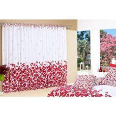 Cortina Flores Estampada Algodão 150 Fios P/ Varão Simples 2,50m x 2,00m - Vermelho       219.00