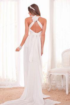 55 vestidos de noiva com decote nas costas - Decote com alças cruzadas