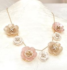 Flower Necklace - Gold Flower Choker - Hand Painted Lucite - Champagne Flowers - Pink Flower Jewelry - Botanical Jewelry- Bridesmaid Jewelry by PureBlissJewelry on Etsy Flower Choker, Flower Jewelry, Flower Necklace, Champagne Flowers, Gold Flowers, Jewelry Accessories, Unique Jewelry, Bridesmaid Jewelry, Bracelets