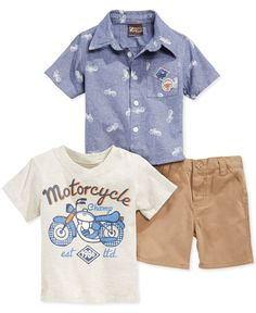 Nanette makes getting him dressed with this ready-to-wear 3-piece set that features a pair of shorts and two different adorable shirts for mix and match fun. | Cotton/polyester | Machine washable | Im