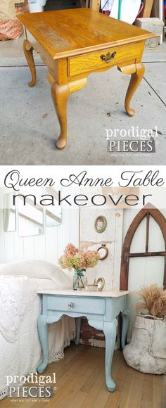 Check out this fantastic Queen Anne table makeover by Prodigal Pieces. Say goodbye to ugly orange oak! See details at prodigalpieces.com