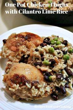 Chicken Thighs with Cilantro Lime Rice, Black Beans and Peas. This one pot chicken dinner can be ready in less than 30 minutes. Black Bean Chicken, One Pot Chicken, Chicken Thigh Recipes, Keto Recipes, Cooking Recipes, Cilantro Lime Rice, Italian Pasta, Seasoning Mixes, Vintage Recipes