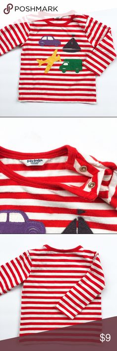 Baby Boden Red Striped Tee Baby Boden Red Striped Tee with vehicles appliqué. GUC baby boden Shirts & Tops Tees - Long Sleeve