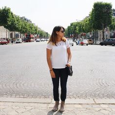 """When I was in the middle of #champselysees in #Paris & did my """"Blogger Pose"""" for the instapic  #flashbackfriday"""