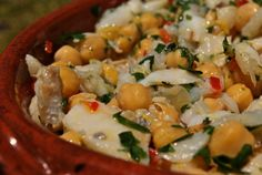 Portuguese: Salted Cod and Chick Pea Salad/Salada de Grao com Bacalhau recipe. Traditional Portuguese dish.