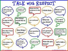 accountable talk: talk with respect, poster idea
