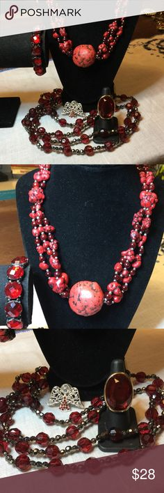Red Rhinestone jewelry lot Beautiful one of a kind Red Coral tiger blood beaded necklace w/ red rhinestone stretch bracelet..red rhinestone ring..Long red and black beaded necklace, also includes Red rhinestone angel pin brooch..all items like new..some have never been worn vintage Jewelry