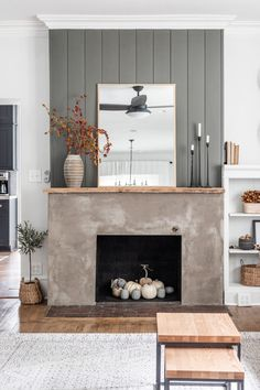 Fall Fireplace, Simple Fireplace, Fireplace Built Ins, Shiplap Fireplace, Concrete Fireplace, Fireplace Remodel, Living Room With Fireplace, Fireplace Design, New Living Room