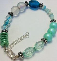 Monochrome Mismatched Aqua Bracelet by BohemianBeadery on Etsy, $10.00