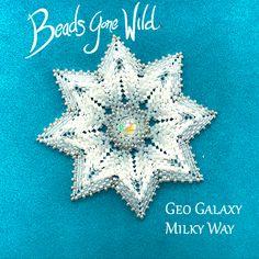 Geo Galaxy Beaded Star Beading Kit- Beaded Brooch, Crochet Earrings, Bead Kits, Flower Center, Small Flowers, Milky Way, Needle And Thread, Bead Weaving, Step By Step Instructions
