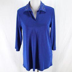 Chicos Travelers Top Sz 1 M Blue 3/4 Sleeve Metal Stud Collar Tunic Shirt  #Chicos #Blue