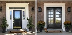 double front entry doors I'm sharing the process for replacing the front door & decorating our front porch for fall! Check out the before & after images, a fun time-lapse, and g Replacing Front Door, Double Front Entry Doors, Double Doors Exterior, Front Door Entrance, Front Door Decor, Front Porch, Best Front Doors, Entrance Ideas, Front Door Lighting
