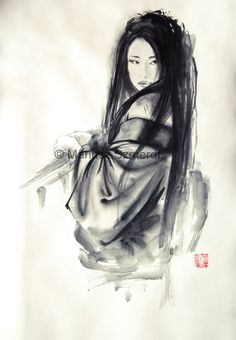 Japanese woman Geisha in kimono traditional Japanese sumi-e suibokuga ink painting via Etsy