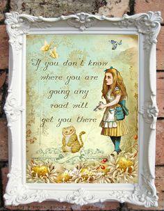 ALICE in WONDERLAND Art Print Alice in Wonderland Bridal Shower Mad Hatter Tea Party Shabby Chic Decor Have I gone Mad Art print C:A034