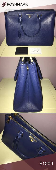 """Prada Medium Saffiano DoubleZip ExecutiveTote Blue Saffiano calfskin leather. Golden hardware. Double tote handles with rings,  Front and back zip compartments frame open top. Expandable snap sides. Leather triangle with metal logo lettering. Hanging covered key ring. Inside, three slip pockets and one zip compartment. Logo jacquard lining. 9""""H x 13""""W x 5.5""""D; weighs approx. 2lbs. Made in Italy. Prada Bags Totes"""