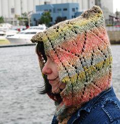 Free Knitting Pattern - Hats: Riverbanks Lace Hood