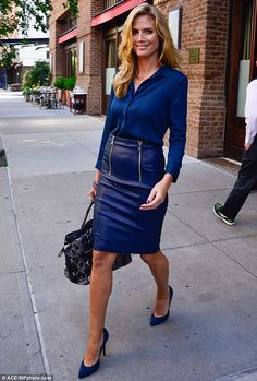 Aqua. I love blue and what about that leather skirt!