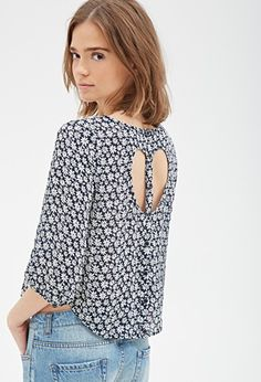 Floral Print Cutout Top   Forever 21 - 2000136356