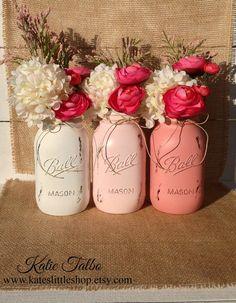 Set of 3 Quart Size Painted Mason Jars. Painted by Kateslittleshop, $23.25