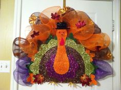 Thanksgiving poly mesh wreath.