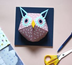 Owl paper sculpture kit by Mlle Hipolyte's.