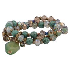 Wholesale turquoise beaded stretch bracelet green natural stone