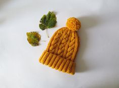 Cable Knit Hat in Yellow Hand Knit Beanie with by naryaboutique