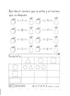 Escribe el número que va antes y el número que va después. Antecesor y sucesor figuras geométricas 1er Grado . Kindergarten Class, Education, Learning, Ideas Hogar, Maths, Signs, Google, Teaching Supplies, Preschool Math Activities