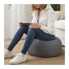 IKEA SANDARED pouffe The cover is easy-care since it can be removed and machine washed. Fabric Ottoman, Pouf Ottoman, Pouf Bleu, Ikea Stockholm, Ikea Home, Affordable Furniture, Extra Seating, Dark Blue, Lounges