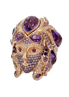 ZORAB ATELIER DE CREATION ~ Wanderlust Venetian Mask Ring. Discover exotic gems and fascinating design from faraway lands. Featuring amethyst quartz, pink sapphire, and pink and white diamonds.