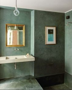 Beautiful Distemper Or Limed Walls In Soft Green In This Bathroom With  Sunken Shower