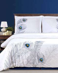 Shop Peacock Embroidered Duvet Cover Set, Full/Queen from Florence & Strada at Neiman Marcus Last Call, where you'll save as much as on designer fashions. Bed Duvet Covers, Comforter Sets, Duvet Cover Sets, Online Bedding Stores, Bedding Websites, Cotton Duvet, My New Room, Linen Bedding, Bed Linens