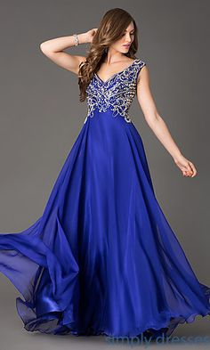 Beaded V Neck Scoop Back Chiffon Formal Gown at SimplyDresses.com